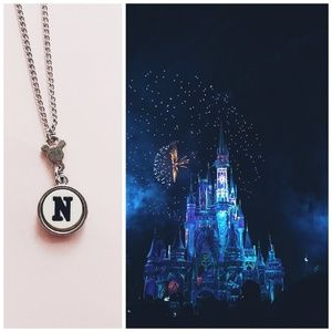 Mickey Mouse N Initial Necklace